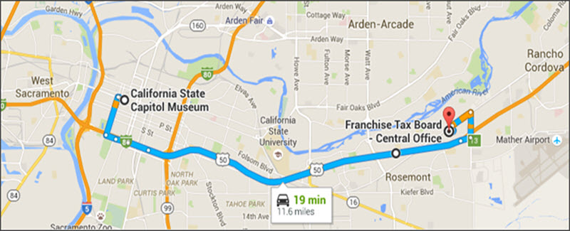 directions from downtown sacramento california on highway 50 freeway to franchise tax board central office, 19 minutes, 11.6 miles one way