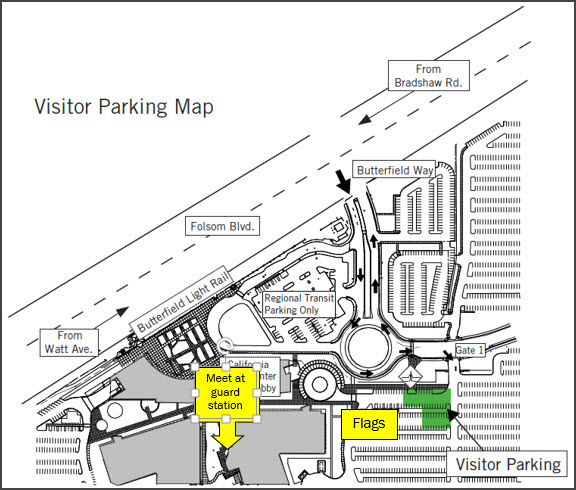 where to parking at Franchise Tax Board, shows flags, visitor parking, meet at the guard station