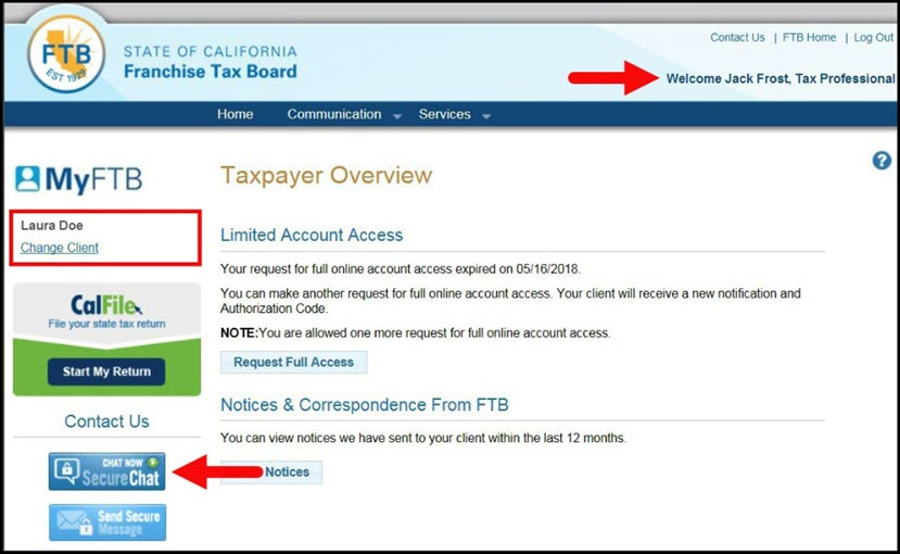 Taxpayer Overview Page – Secure Chat Button