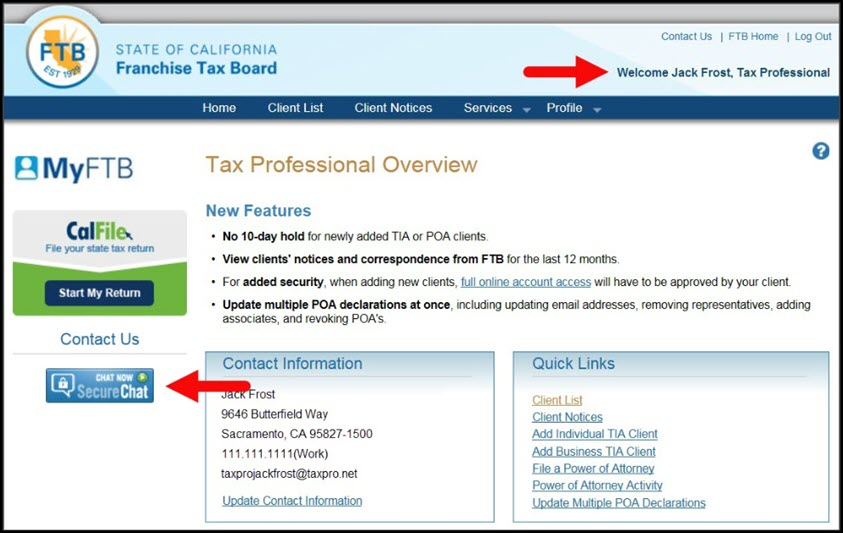 Tax Professional Overview Page – Secure Chat Button