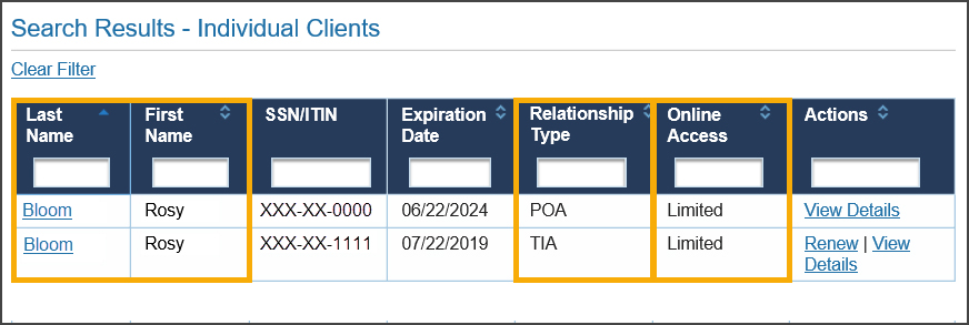 Taxpayer on Client List with multiple Relationship Types (POA and TIA)