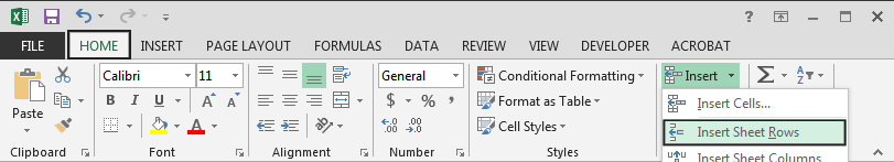 Microsoft Excel ribbon showing Home tab selected and navigated to the Insert menu selecting Insert Sheet Row.